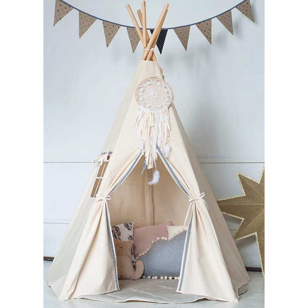 Large Unbleached Canvas Original Teepee Kids Teepee with Grey Pom Poms Indian Play Tent House Children Tipi Tee Pee Tent red chevron canvas dog tent house pet teepee tipi dog tee pee cat teepee