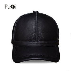 Image 2 - HL028 genuine leather men baseball cap hat new brand mens real leather adult solid adjustable hats/caps