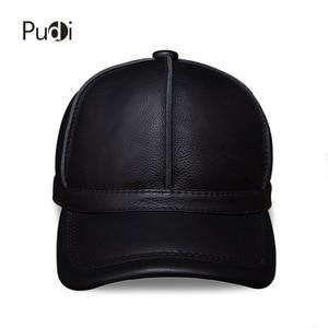 Image 2 - Hl028本革男性野球キャップ帽子新ブランドメンズリアルレザー大人固体調節可能な帽子/キャップ