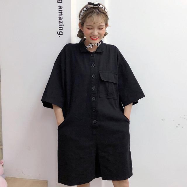 28d5ebe9a3 Harajuku Women Classic Denim Button Down Short Sleeve Jumpsuit Summer  Female Black Overalls With Belt Korean Cute Casual Romper