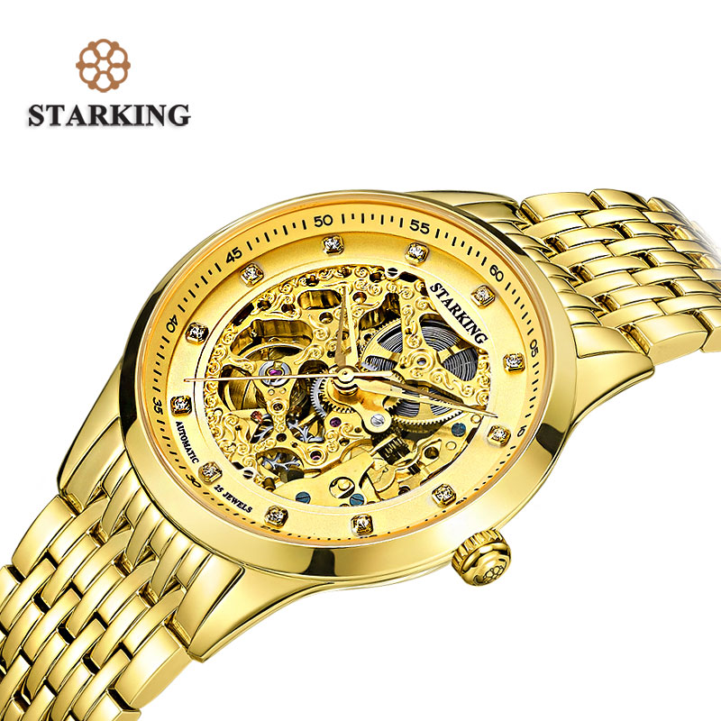 STARKING Golded Automatic Mechanical Skeleton Watch Men Geneva 2016 New Arrival Luxury Brand Leather Strap Buckle Watch AM0188