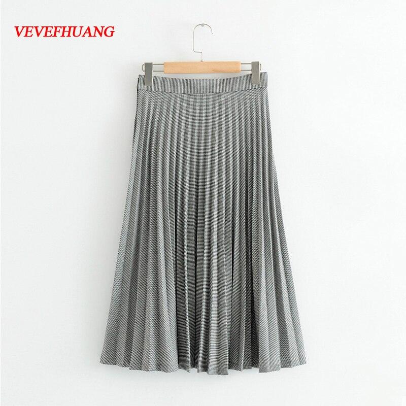 Fashion Hot Skirts Black White Striped High Waist Pleated Flare Casual Satin Elegant Party Empire Wear Bodycon Ladies Vestidos
