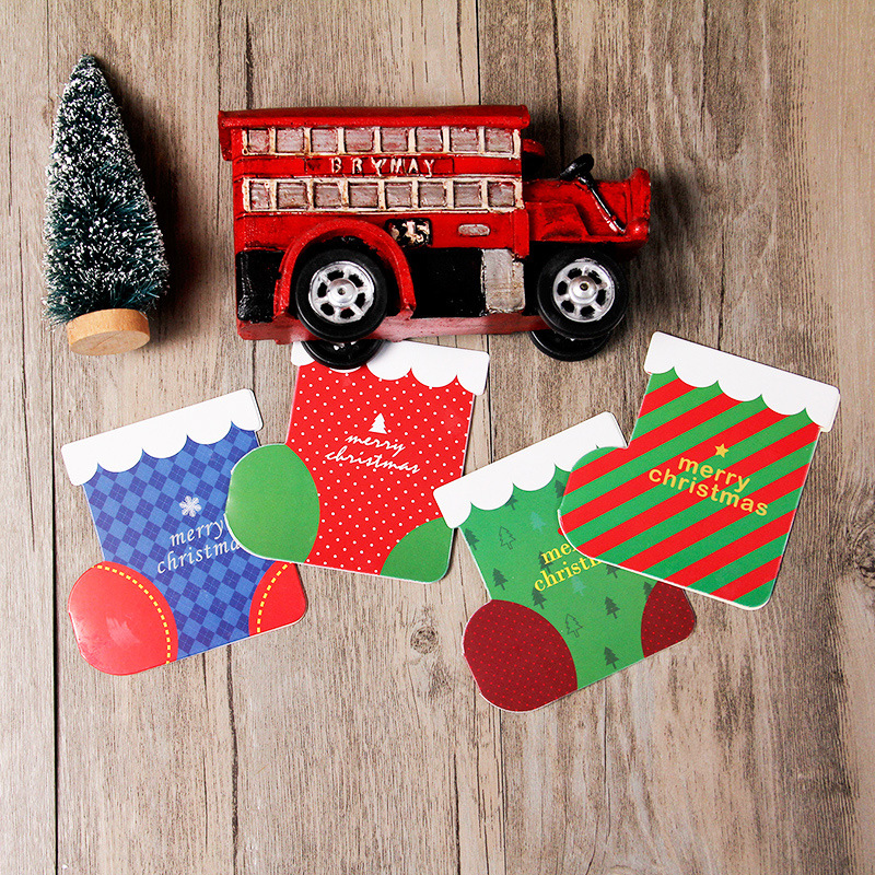 4 Pcs/pack Sock Shape Merry Christmas Card Greeting Card Postcard Birthday Letter Envelope Gift Card Message Card
