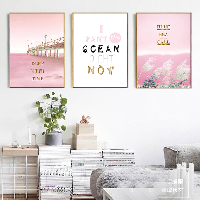 wall art picture girly dreamy pink bridge ocean landscape painting
