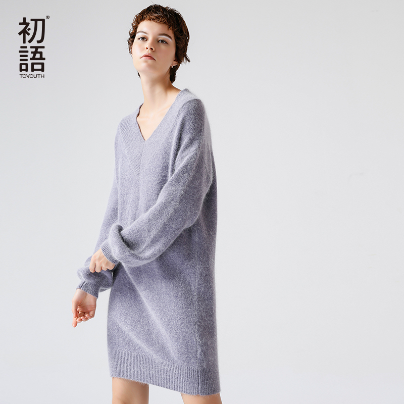 Toyouth Long Wool Knitted Sweater Dress 8730423017