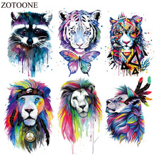 ZOTOONE Colorful Animal Patch Heat Transfers For Kids Clothes DIY T-shirt Butterfly Tiger Patches Clothing Iron Applique E