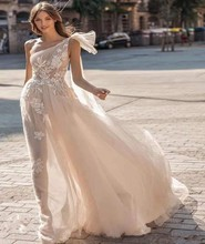 Sexy See Through Tulle Boho Wedding Dress 2019 Lace Beach Gowns Charming One Shoulder Backless Bohemia Vestido De N