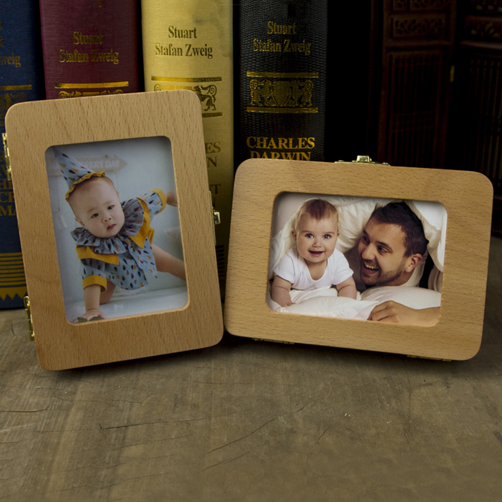 Baby Photo Frame Teeth  Box Baby Teeth Box Save Organizer Wooden  Box For Baby Kids Milk Teeth