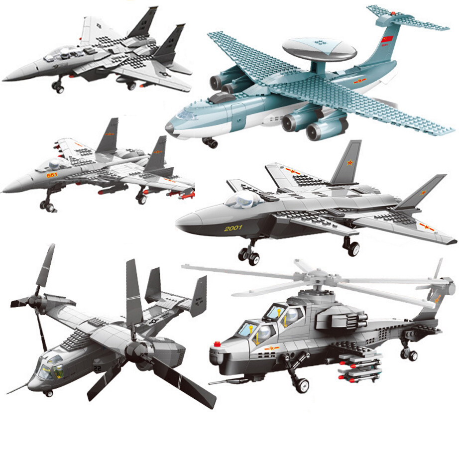 Modern military ww2 V-22 Osprey F-15 eagle fighter J15 J-20 helicopter building block model world war air force figures toys