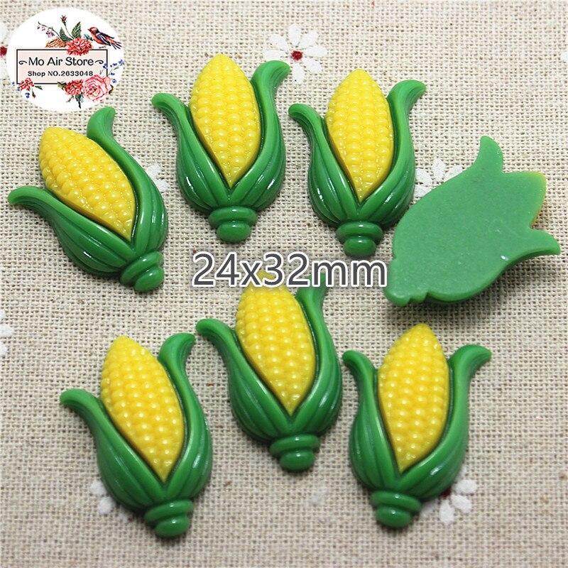 10pcs Corn Resin Flat Back Cabochon Miniature Food Art Supply Decoration Charm Craft DIY 24x32mm