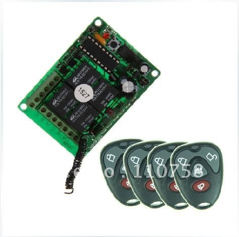 New Free Shipping DC 12V 10A 4CH Learning Code RF Wireless Remote Control Switch Systems 1 Receiver 4 Controllers