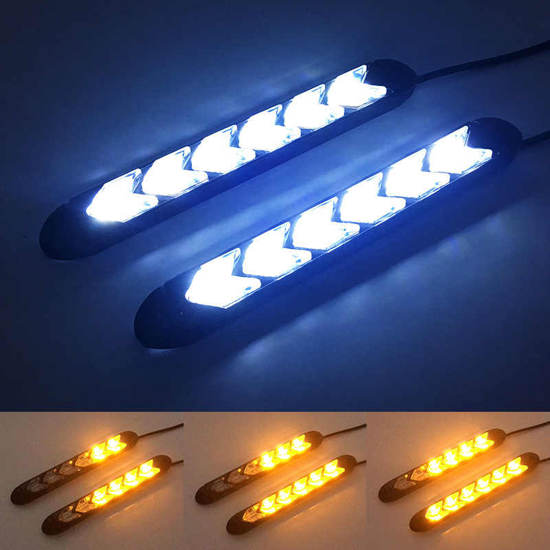 2x Waterproof Car led Switchback LED Daylight Headlight Eye DRL Lamp Dynamic Sequential Brake Turn Signal Daytime Running Light