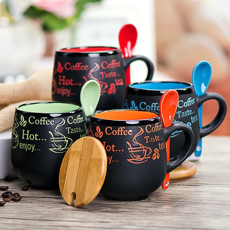 Coffee Cup European set creative shipping with cover spoon ceramic mug matt black coffee