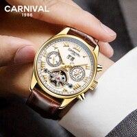 CARNAVAL Esqueleto Automático Homens relógio de Ponteiro Luminoso Cristal de Safira Marca de Luxo Turbilhão Relógio Mecânico
