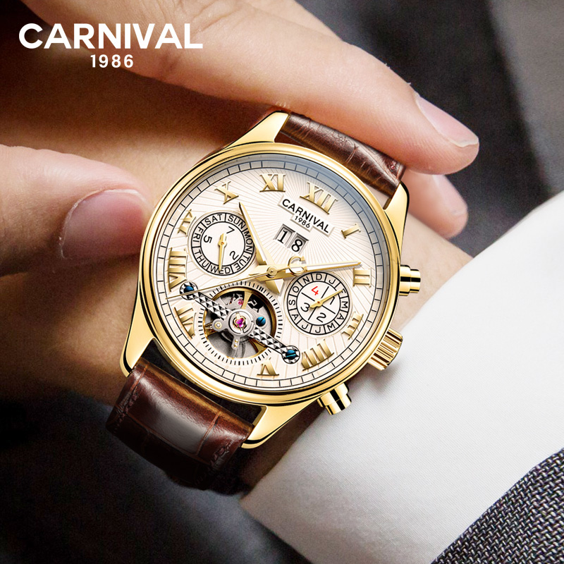 CARNIVAL Skeleton Automatic watch Men Sapphire Crystal Luminous Pointer Luxury Brand Tourbillon Mechanical WatchCARNIVAL Skeleton Automatic watch Men Sapphire Crystal Luminous Pointer Luxury Brand Tourbillon Mechanical Watch