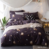 Egyptian cotton feather print bedding set silk feeling satin bed linen flower leaf duvet cover,sheet,pillowcase queen king size