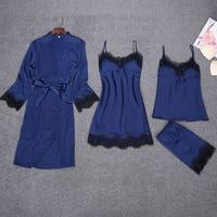 Sexy Lady 4pcs Strap Top Pants Suit Night Robe Sleepwear Sets Casual Womens Home Wear Pajamas Sleep Nightwear Kimono Bath Gown