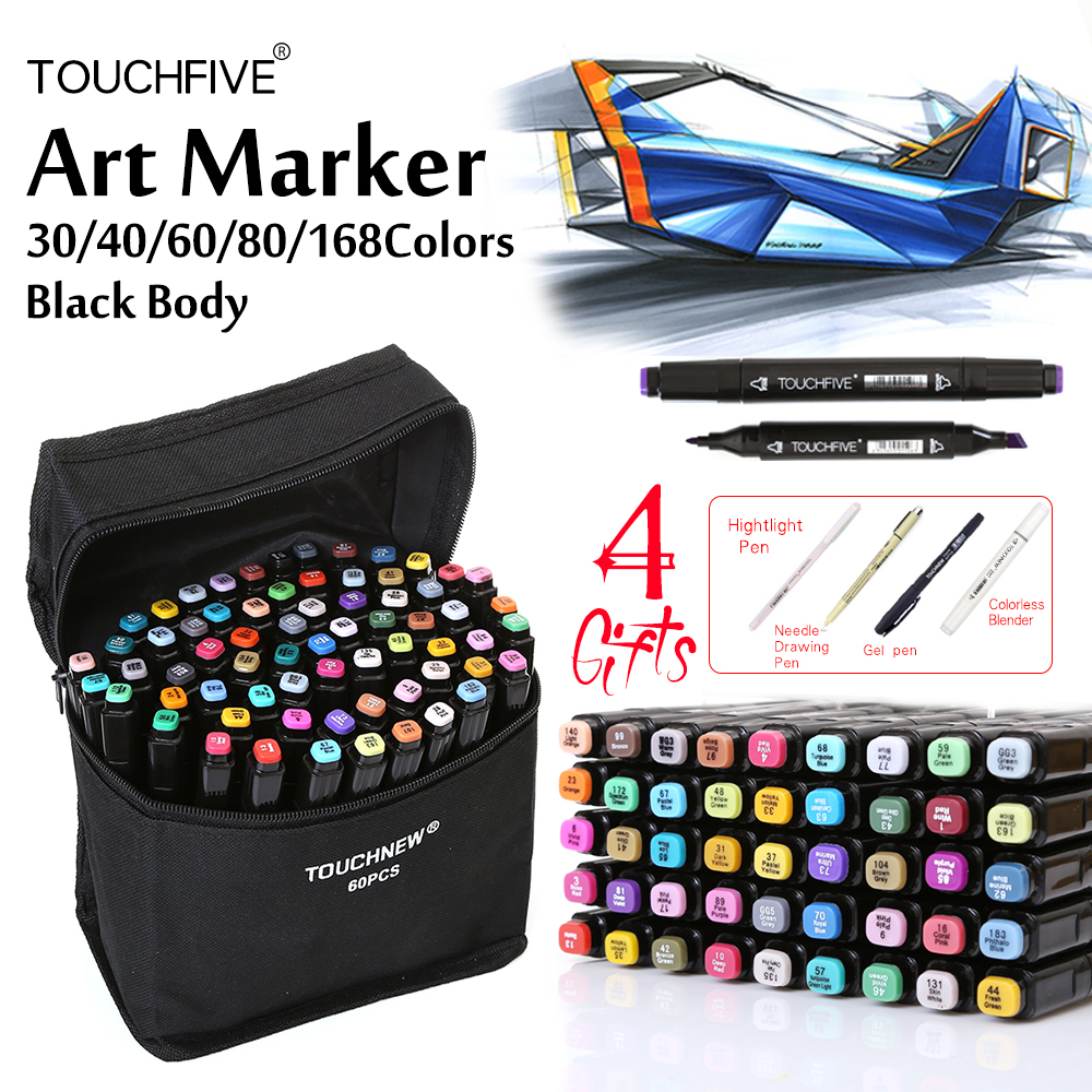 TouchFive Black Marker 30/40/60/80 Colors Dual Headed Alcoholic based Marker Set Best For Manga Animation Art Sketch Markers touchfive marker 60 80 168 color alcoholic oily based ink marker set best for manga dual headed art sketch markers brush pen
