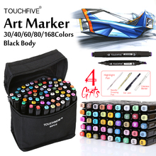 TouchFive Black Marker 30/40/60/80 Colors Dual Headed Alcoholic based Marker Set Best For Manga Animation Art Sketch Markers