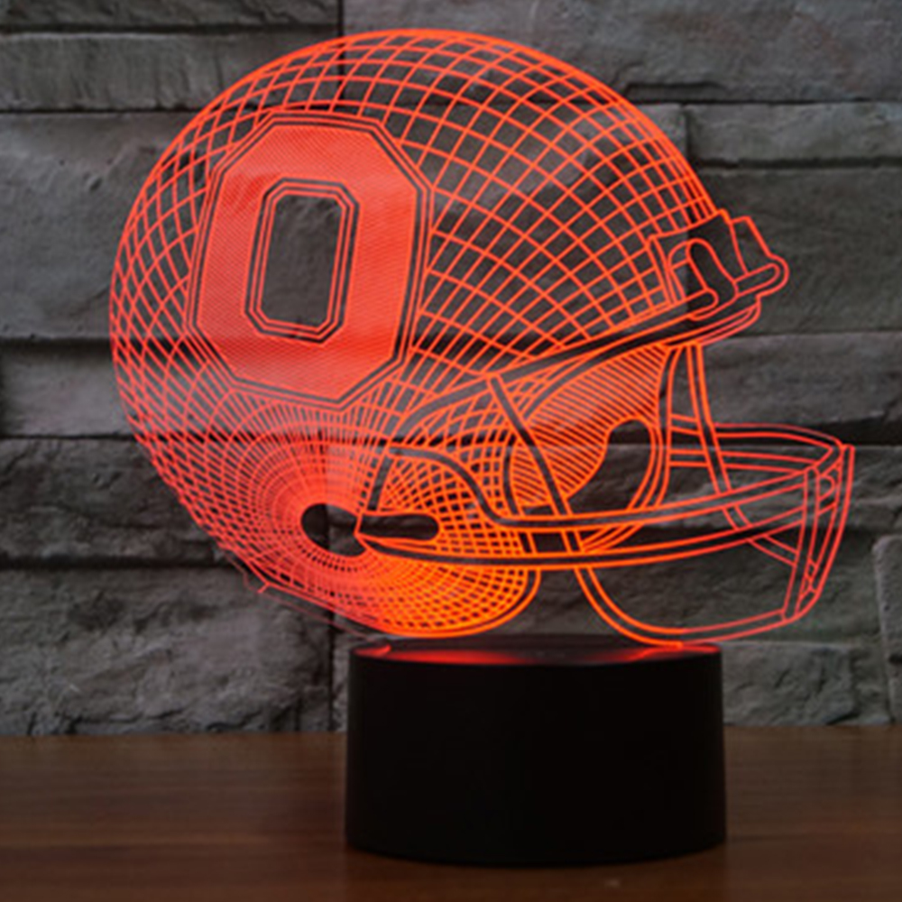 NFL Team OHIO Football Helmet Sport Cap 3D Light 7 Color Colorful Night Light USB LED Table Lampara Home Decor for kid IY803687