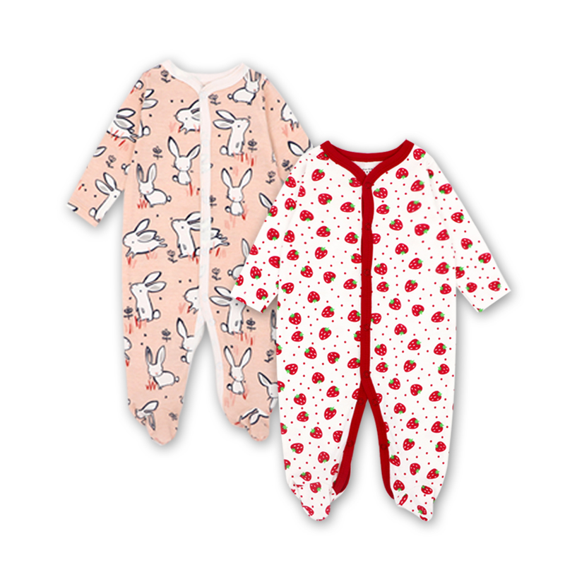 Newborn clothes Baby girl clothes Baby clothes Carter Bebes Cotton Cartoon Printing Infant footies 2pcs 0-12 months ...