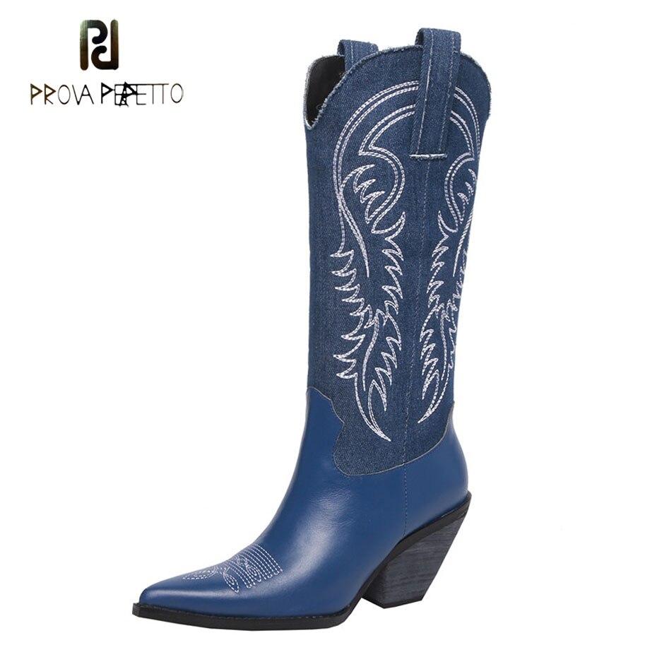 Prova Perfetto 2018 nouvelles bottes de cowboy femmes bout pointu chunky talon haut bottes de chevalier broder style rétro dame genou bottes hautes