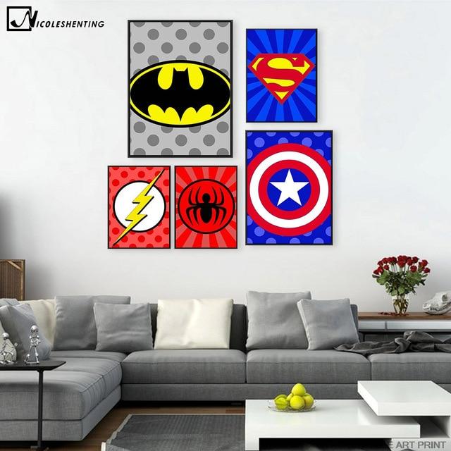 Extreem Batman Superman Captain America Minimalistische Kunst Canvas &LI56