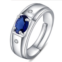 open Resizable Women Men Rings Round Blue Zirconia Stone Cz Crystal Silver Gold Wedding Male Female Rings wholesale lots bulk(China)