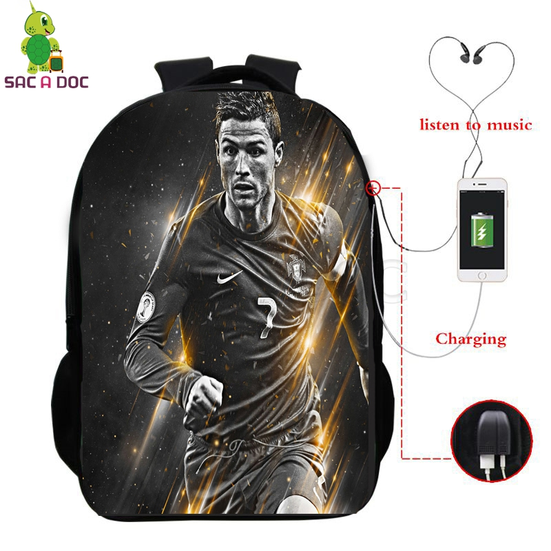 Cristiano Ronaldo 7 Cr7 Backpack Multifunction Usb Charging School Bags For Teenage Girls Boys Fans Daily Backpack Travel Bags #2