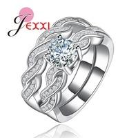 JEXXI Charm Cross Design Promise Wedding Rings Set 2 PCS Shiny CZ Diamond Cubic Zirconia Crystal