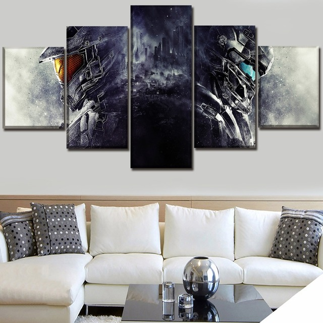 Modern Canvas HD Prints Pictures Wall Art 5 Pieces Game Halo 5 ...