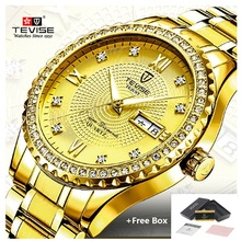 купить TEVISE Full Gold Mens Quartz Analog Watch Luxury Fashion Sport Wristwatch Waterproof Steel Male Watches Clock Relogio Masculino по цене 1301.97 рублей