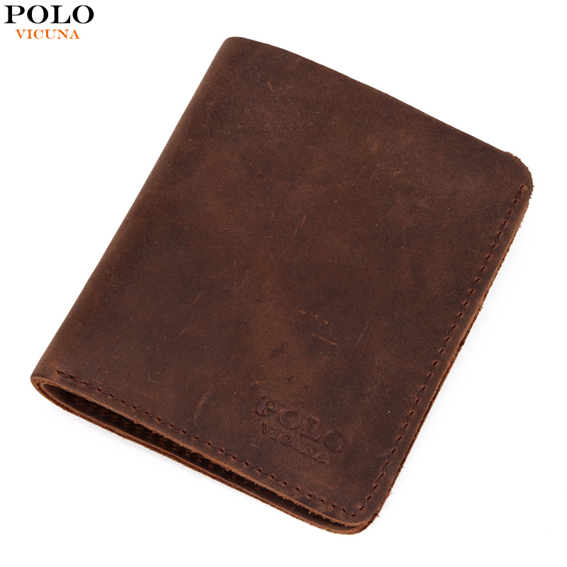a73205fb50 VICUNA POLO Natural Genuine Leather Man Wallet Vintage Simple Design Men's  Slim Short Wallet Crazy Horse Leather Men Purse Hot