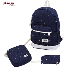 canvas backpack women dot school bag for teenagers girls Preppy Style composite bags set travel high quality female backpack #30