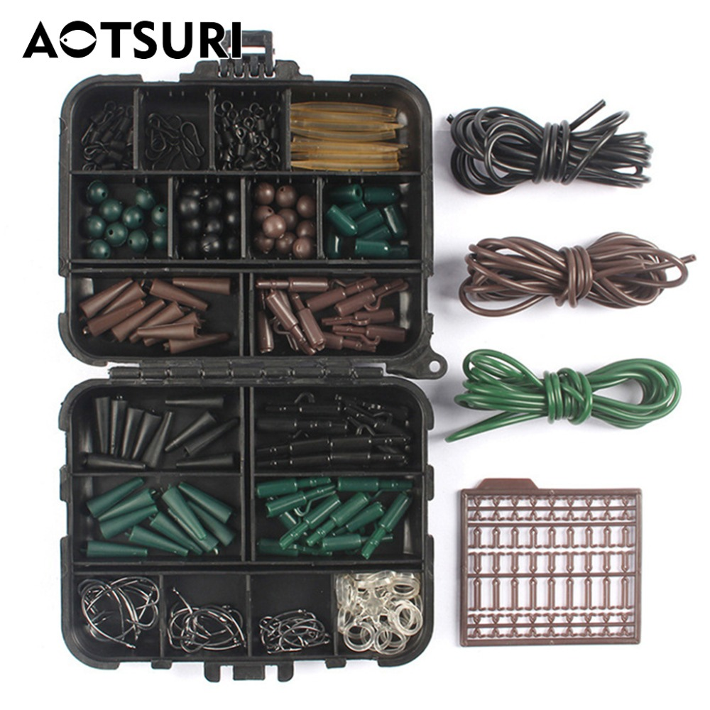 AOTSURI Assorted <font><b>Carp</b></font> <font><b>Fishing</b></font> <font><b>Accessories</b></font> Tackle Boxes for Hair Rig Combo box Hooks Rubber Tubes Swivels Beads Sleeves Stoppers