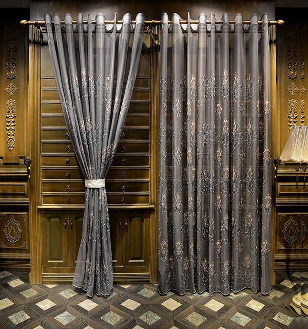 sheer cafe curtains for living room country decorating pictures aliexpress.com : buy luxury silver gray embroidery floral ...