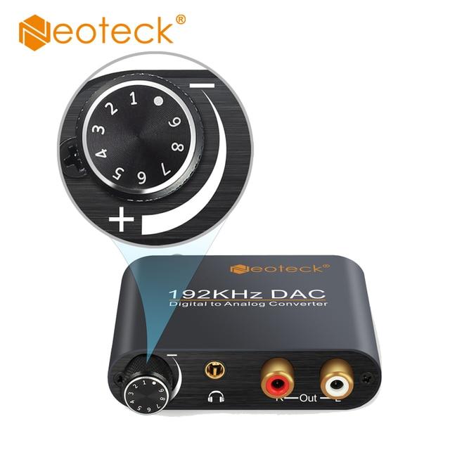 Neoteck cyfrowy na analogowy konwerter Audio DAC koncentryczny optyczne Toslink SPDIF do analogowe RCA 3.5mm Adapter gniazda Jack z kontrolą głośności