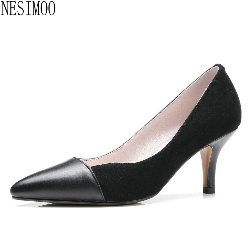цена на NESIMOO 2018 Women Pumps Thin High Heel Pointed Toe Shoes Shallow Slip on Genuine Leather+Pu Casual Ladies Pumps Szie 34-39
