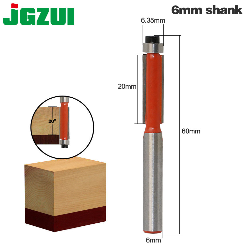 "1pcs 6mm"" Shank Flush Trim Router Bits for wood Trimming Cutters with bearing woodworking tool endmill milling cutter-in Milling Cutter from Tools"