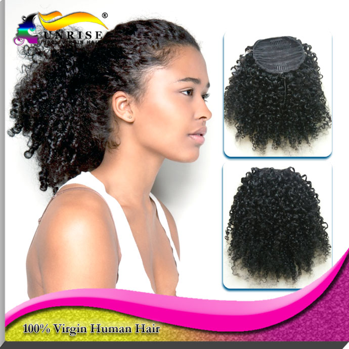 Afro Kinky curly ponytail hair extensions  virgin