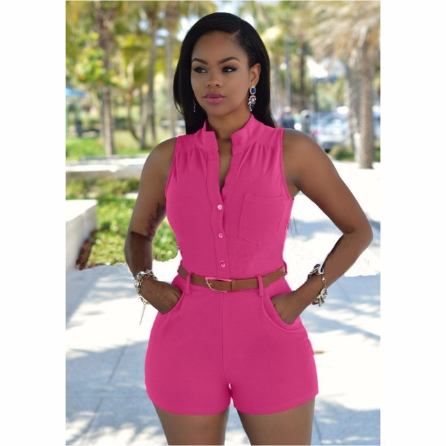 3163df2cedf8 FK1503 Women Summer Casual Playsuits Sleeveless Buttons Waist Belt Fashion  Jumpsuit Clothing Rompers Coverall Macacao Barboteuse