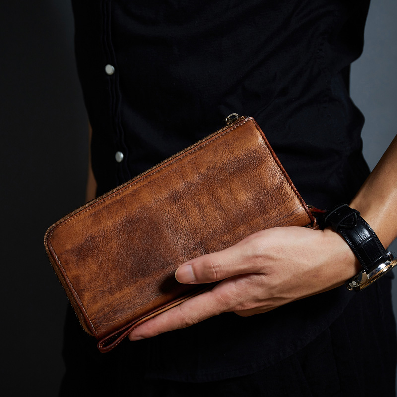 Luxury Genuine Leather Wallet Men Clutch Bag Vintage Brand Cowhide Leather Men Purse Zipper Male Long Wallets Designer Carteira luxury brand vintage handmade genuine vegetable tanned cow leather men women long zipper wallet purse wallets clutch bag for man