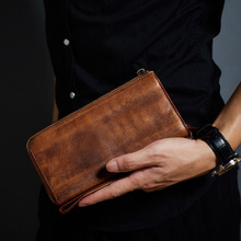 Роскошный кожаный бумажник Для мужчин клатч Винтаж бренд натуральной кожи Для мужчин кошелек на молнии мужской длинные кошельки Дизайнер Carteira