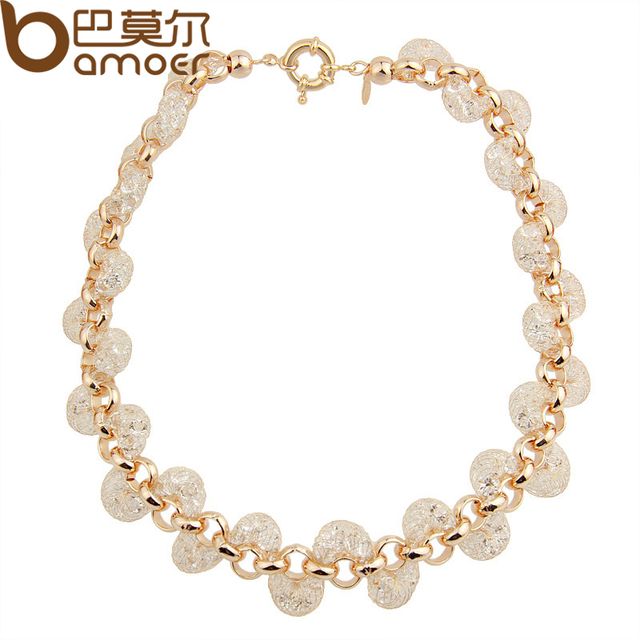Rose Gold Necklace Champagne Wire Zircon Crystal Torque Necklace Female Fashion Jewelry JSN046