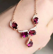 Natural red garnet Necklace natural gemstone Pendant Necklace S925 Sterling silver trendy Round eyes women party Jewelry