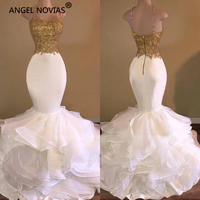 ANGEL NOVIAS Long White Vestido De Festa Longo Elegant Mermaid Party Prom Dress 2018 with Straps Ruffled Organza Gala Jurk
