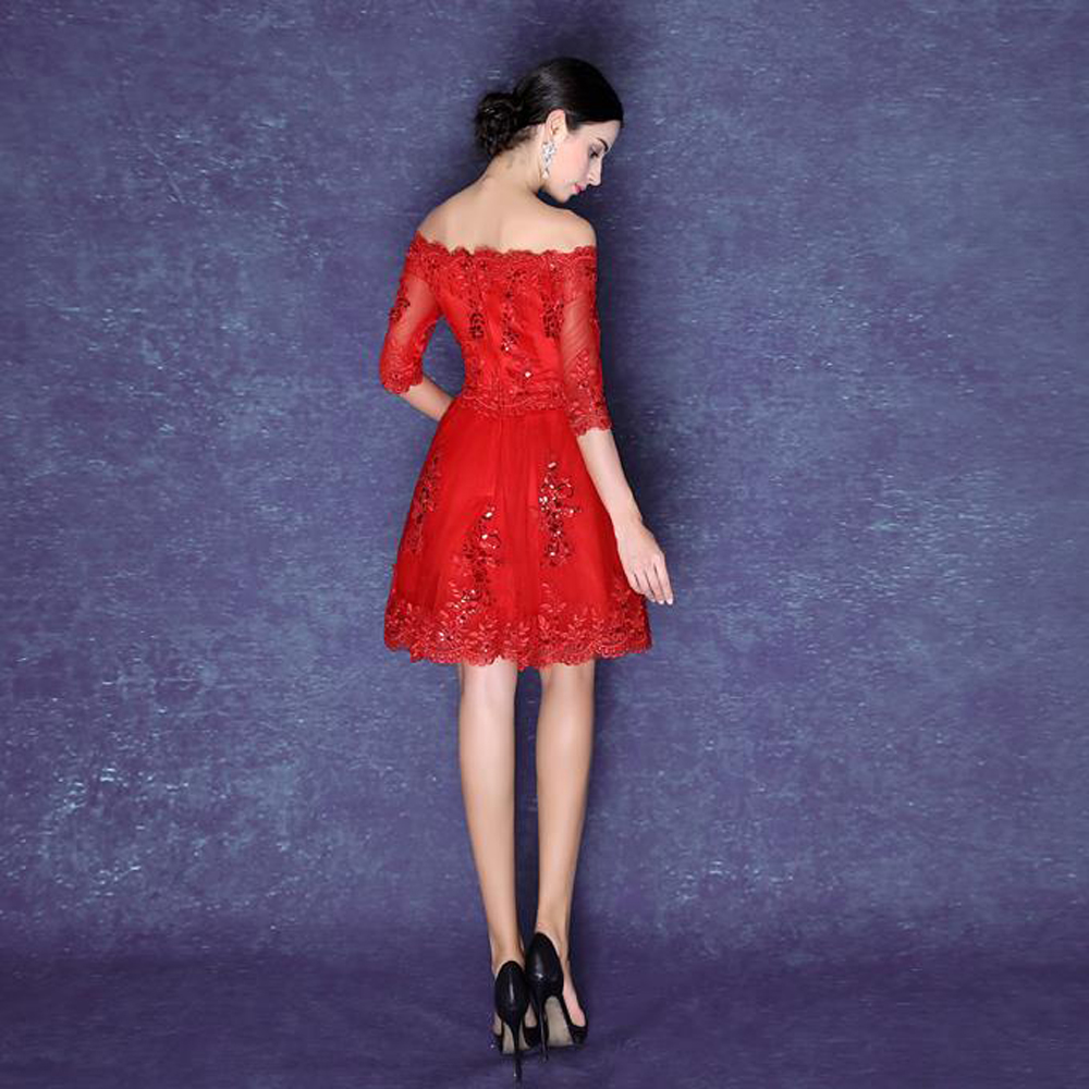 0cd382a5f5e 2016 sexy red lace cocktail dress half sleeve backless off the shoulder knee  length dress cocktail plus size
