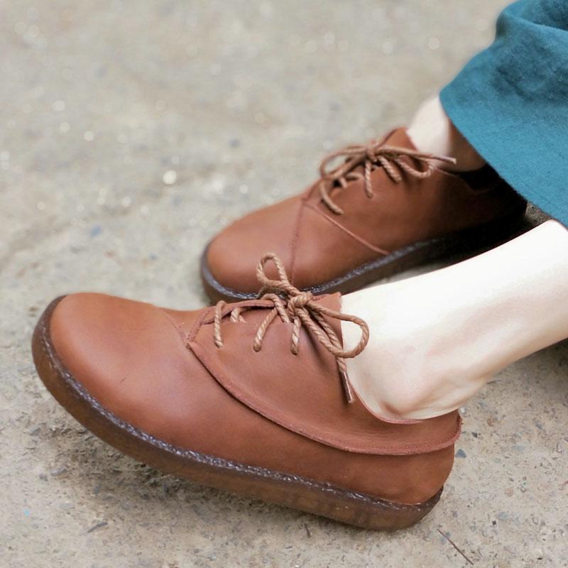 где купить Shoes Woman Flat Genuine Leather Platform Shoes Round Toe Lace up Ladies Flat Shoes Casual Female Footwear (A318-1) по лучшей цене