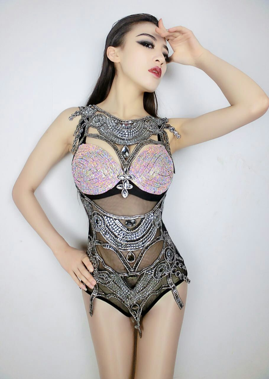 cc5cd481e5c4 2016 New Design Sexy Perspective Diamond Bodysuit Costume Party Show Female  DJ Singer Stage Nightclub Performance Wear Jumpsuit