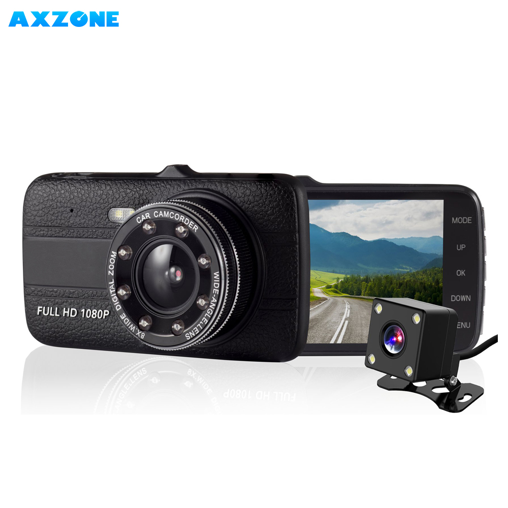 1080P Full HD Dual Lens Dash Cam G-Sensor Car Camera with 8 Led Lights 4 Inches Large IPS Screen Dash Cams For Cars Front and Rear with Night Vision Loop Recording 170 wide angle
